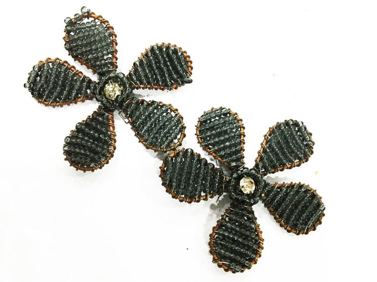 Dark Gray Flower Handmade Glass Bead Metal Embellishments (42 mm) (4545591541829)