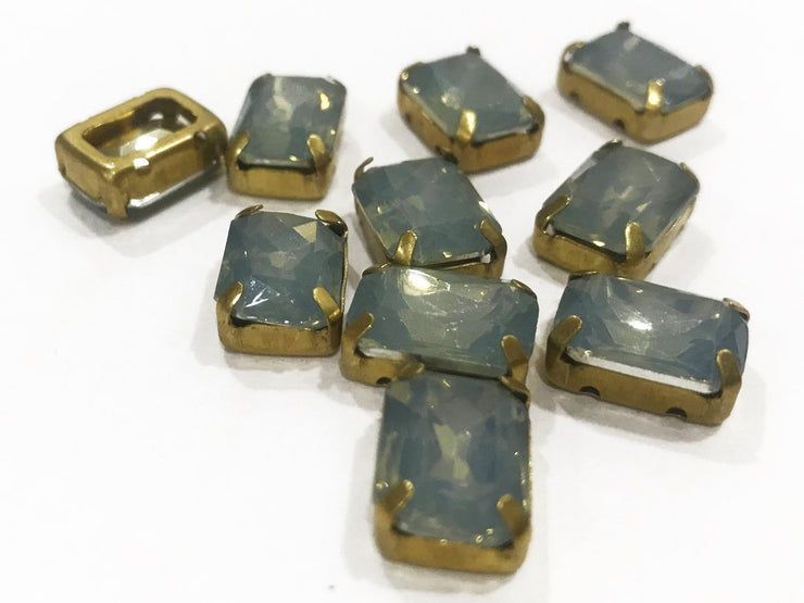 Dark Gray Opal Rectangular Resin Stones with Catcher (14x10 mm) (4541061627973)