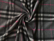 Dark Gray Pink Burberry Check Wool Fabric