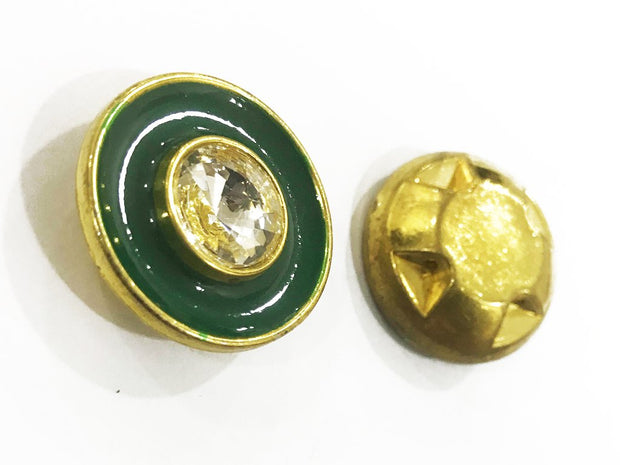 Dark Green Golden Frame Circular Plastic Show Button