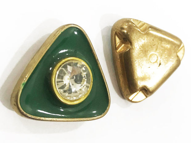 Dark Green Golden Frame Triangular Plastic Show Button