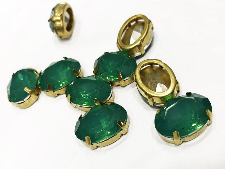 Dark Green Opal Oval Resin Stones with Catcher (18x13 mm) (4539521761349)