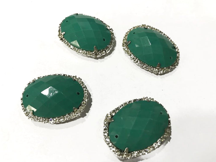 Dark Green Oval Plastic Stone with Crystal Frame (22x28 mm)