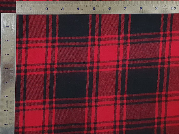 Dark Red and Blue Checks Yarn Dyed Twill Brushed Cotton Fabric