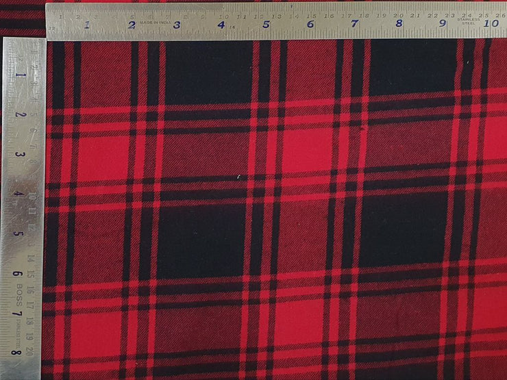 Dark Red and Blue Checks Yarn Dyed Twill Brushed Cotton Fabric (4533993373765)