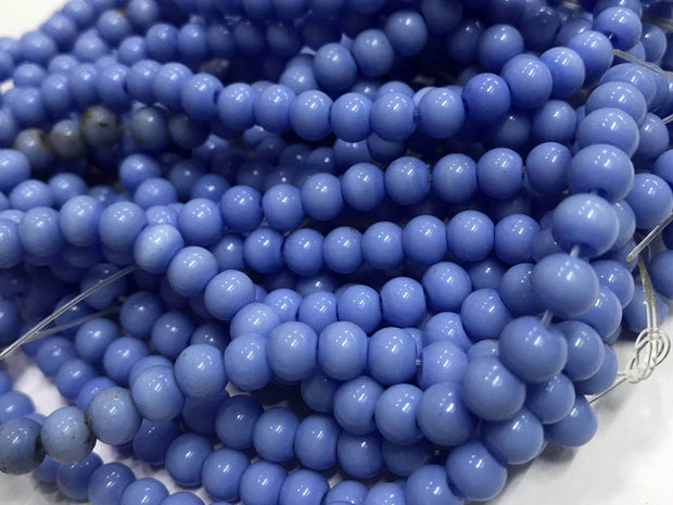 Deep Blue Circular Pressed Glass Beads- 6 mm