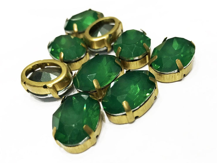 Deep Green Opal Oval Resin Stones with Catcher (18x13 mm) (4539524612165)