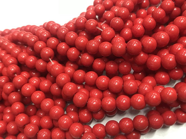 Deep Red Circular Pressed Glass Beads- 6mm