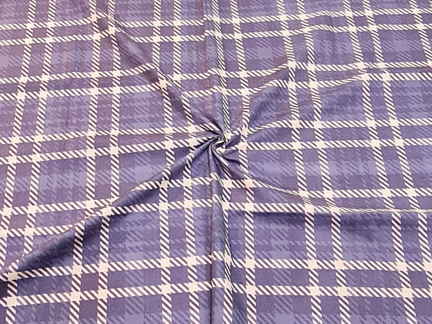 Denim Blue White Plaid Checks Printed Cotton Fabric
