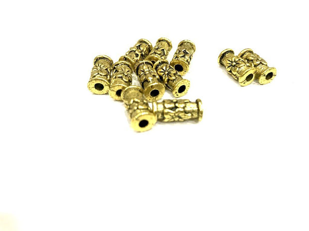 Designer Golden Tube Metal Charms(13x5 mm)