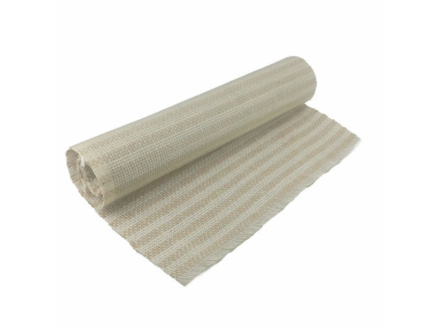 Brown White Stripes Jute Cotton Canvas Fabric Laminated Threading