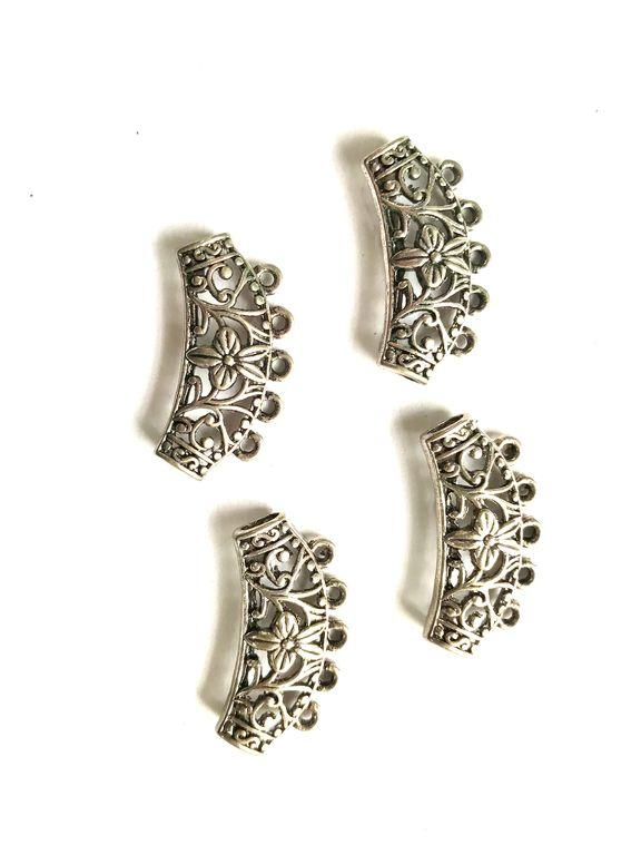 Silver Designer C Shaped Metal Piece Embellishments