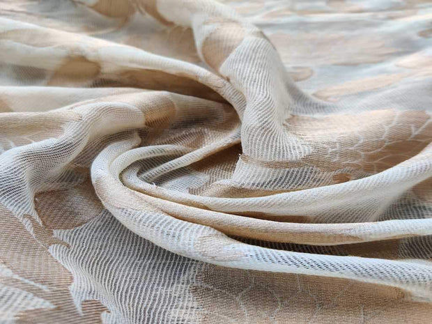 White Copper Floral Weaves Dyeable Jute Jacquard Fabric