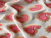 White Pink Paisleys Dyeable Viscose Chanderi Fabric