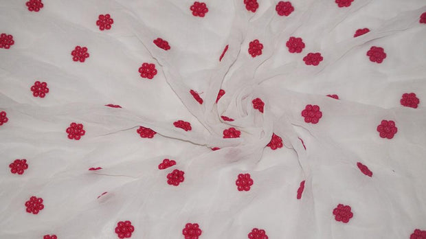 Dyeable White Georgette Fabric with Pink Embroidered Flower Motifs | The Design Cart