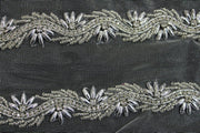 Silver Embellished Stone and Pearl Work Embroidered Border