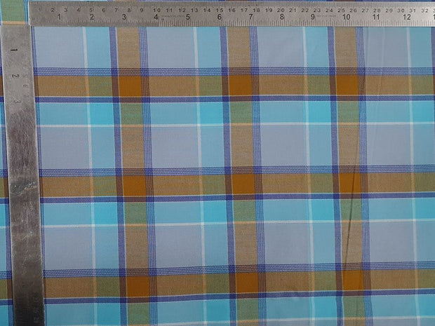 Electric Blue Yellow Yarn Dyed Twill Checks Cotton Fabric