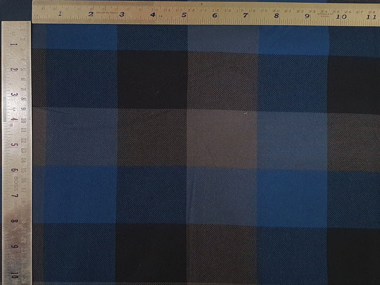 Elegant Blue and Navy Blue Checks Yarn Dyed Cotton Twill Fabric (4534122348613)