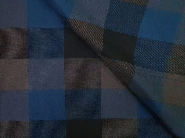 Elegant Blue and Navy Blue Checks Yarn Dyed Cotton Twill Fabric