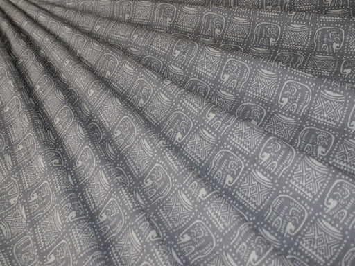 Gray and White Tribal Elephant Design Cotton Fabric