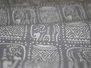 Gray and White Tribal Elephant Design Cotton Fabric | The Design Cart