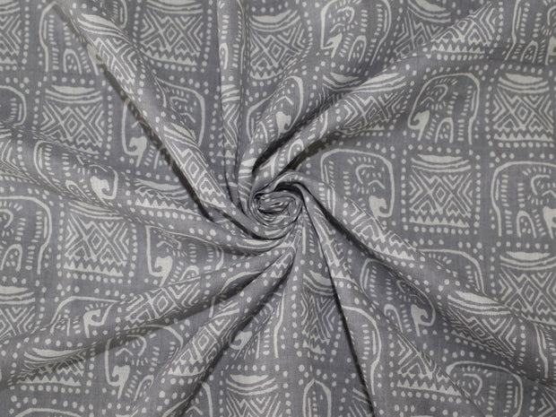 Gray and White Tribal Elephant Design Cotton Fabric | The Design Cart (1507428499490)