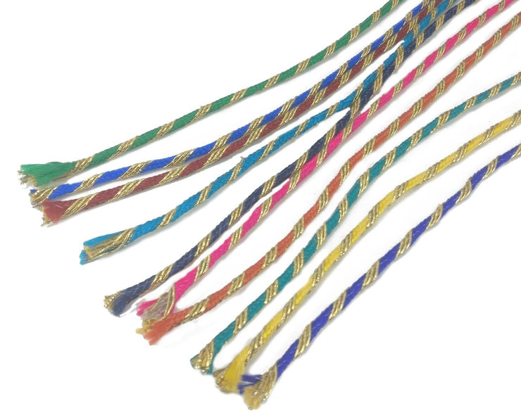 Multicolour Assorted Thread Cords with Polyester Zari (4534169206853)