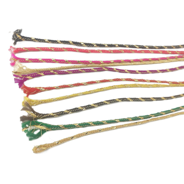 Multicolour Assorted 2 Thread Cords with Polyester Zari