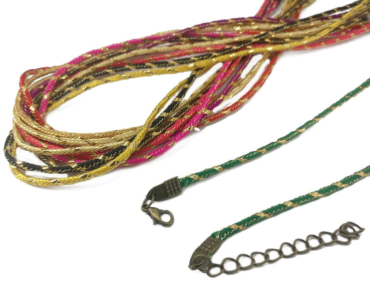 Multicolour Jewelry Making Ethnic Cord with Polyester Zari