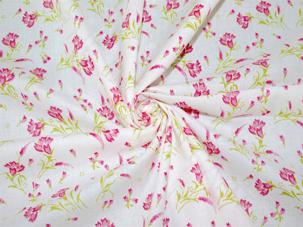 White Pink Green Flowers Cotton Fabric | The Design Cart