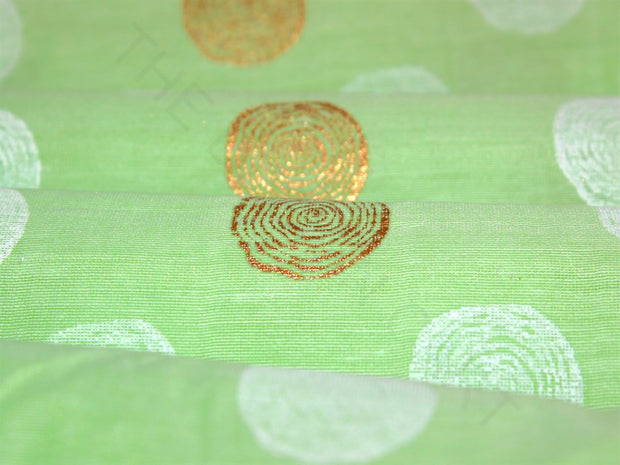 Green Khadi Printed Polka Dots Polyester Chanderi Fabric | The Design Cart