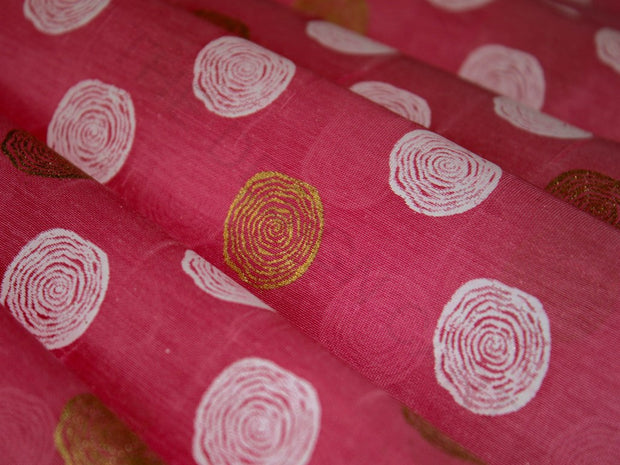 Pink Polka Dots Khadi Print Polyester Chanderi Fabric | The Design Cart