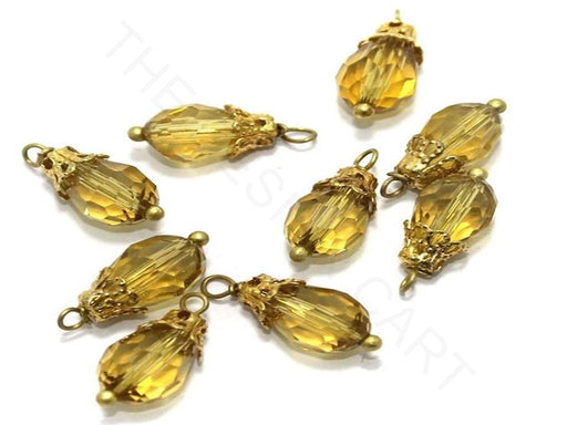 Transparent Golden Faceted Loreal Beads