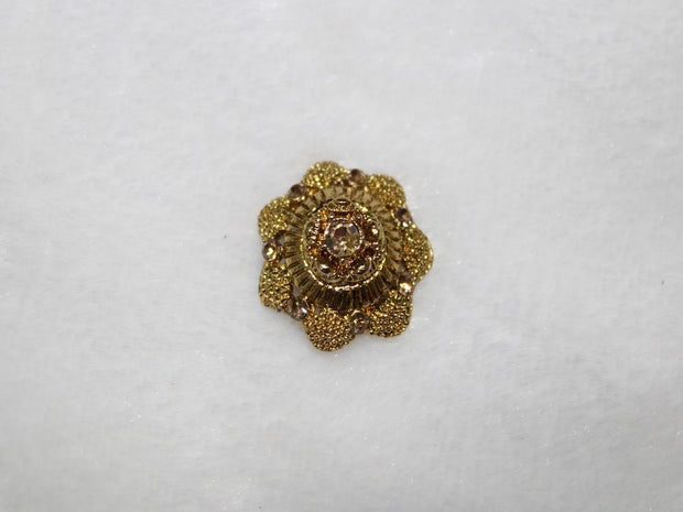 Golden Flower Stone Work Acrylic Buttons