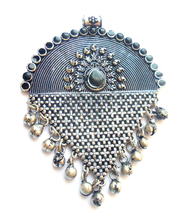 Silver Fancy Metal Pendant with Bells