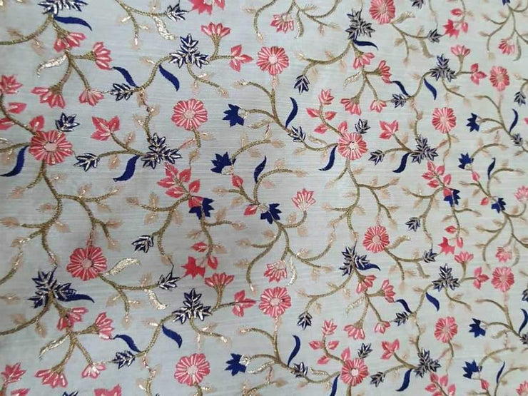 Fawn Blue Pink Flowers Embroidered Mulberry Silk Fabric