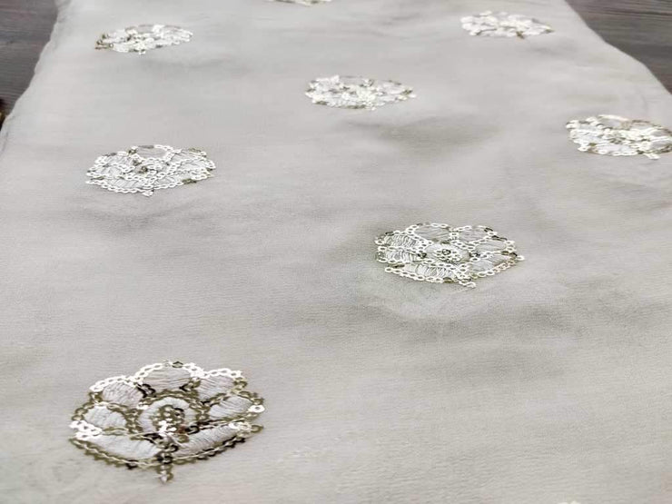 White Silver Sequins Floral Embroidered Dyeable Georgette Fabric (4543744901189)