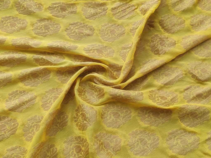 Yellow Golden Buttas Fine Georgette Fabric (4544017989701)