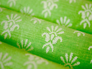 Green Boota Khadi Print Polyester Chanderi Fabric | The Design Cart (3775089639458)