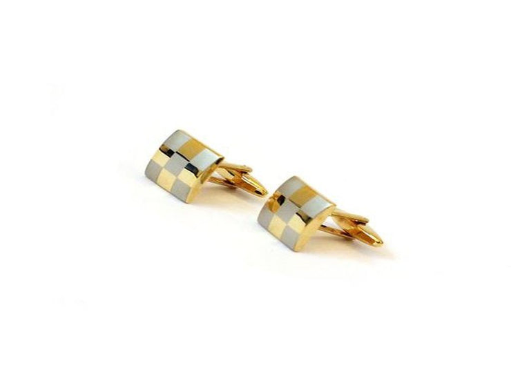 Golden Square Checks Metal Cufflinks (15 mm) (4540013051973)