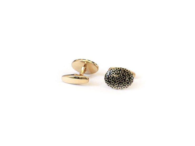 Black Golden Circles Metal Cufflinks (18 mm) (4539996602437)