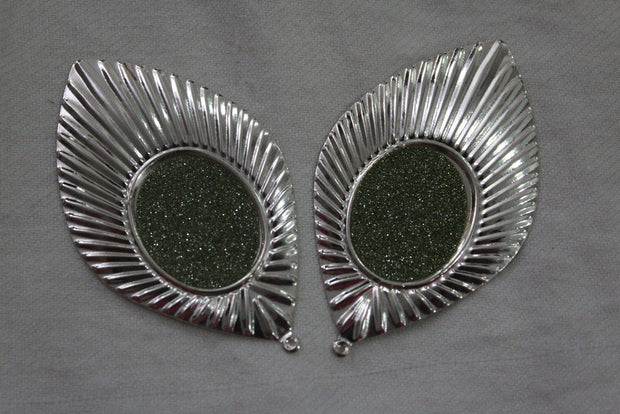 Green Silver Leaf Metal Brooch