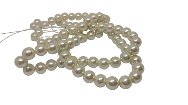 Off White Spherical Glass Pearl Beads | The Design Cart