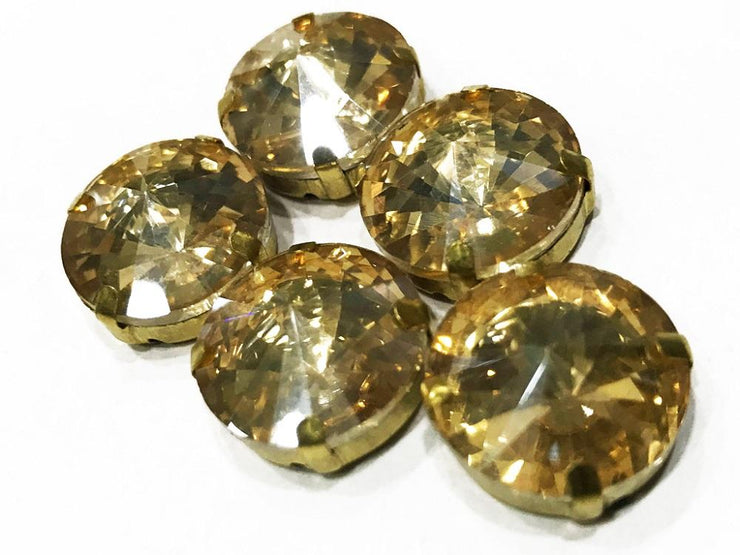 Golden Circular Glass Stone with Catcher (10 mm) (4537953157189)