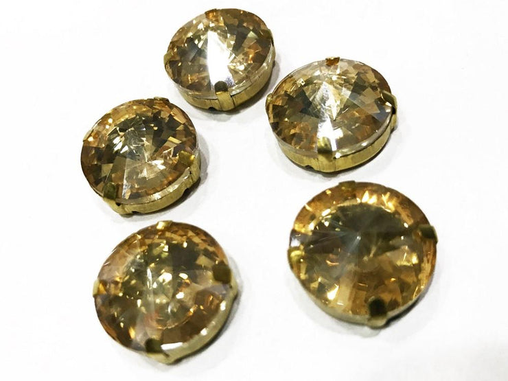 Golden Circular Glass Stone with Catcher (12 mm) (4537953255493)