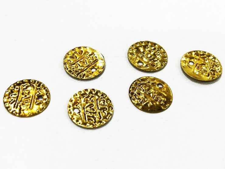 Golden Coin Metal Charms (10 mm) (4546823651397)