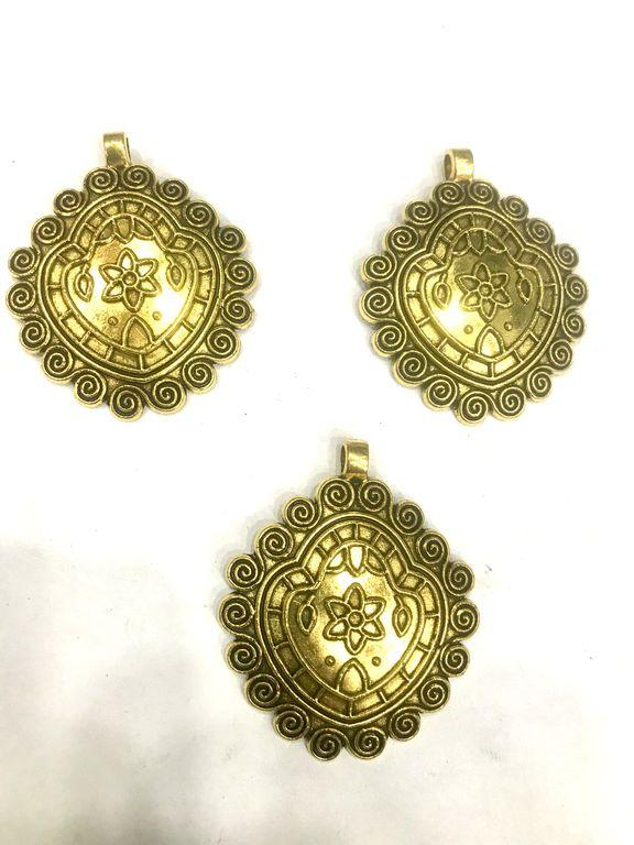 Golden Designer Metal Pendants (55x45 mm)