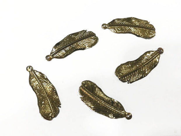 Golden Leaf Metal Charms (27x10 mm)