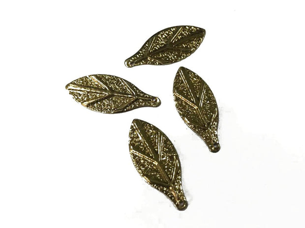 Golden Leaf Metal Charms (28x12 mm)