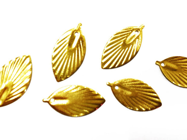 Golden Leaf Metal Charms (8x17 mm)